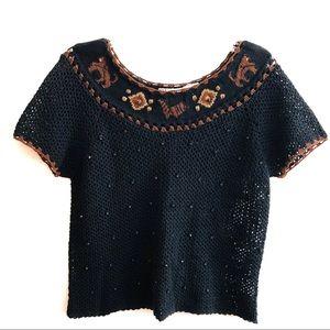 Animal Kingdom Open Knit Crochet Bead Crop Sweater